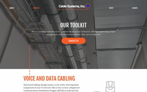 Screenshot of Services Page cablesysinc.com - Cables Systems, Inc. - Professional Cabling Services - captured Sept. 26, 2018