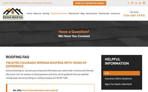 Screenshot of FAQ Page divineroofinginc.com - Roofing FAQ | Colorado Springs Roofing Service - captured March 24, 2019