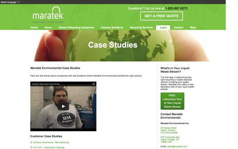 Screenshot of Case Studies Page maratek.com - Maratek Waste Recycling Case Studies - captured Jan. 25, 2016