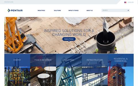 Screenshot of Home Page pentair.com - Pentair | Global Leader in Water, Fluid, Thermal Mgmt & Equipment Protection - captured Dec. 8, 2015