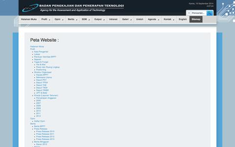 Screenshot of Site Map Page bppt.go.id - Sitemap - captured Sept. 19, 2014