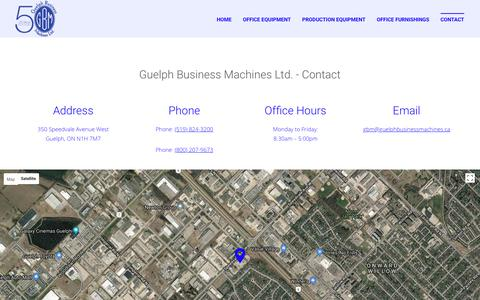 Screenshot of Contact Page guelphbusinessmachines.ca - Contact | Office Equipment | Office Furniture | Office Phones | Guelph Business Machines Ltd. - captured July 6, 2018