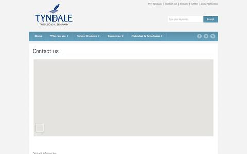 Screenshot of Contact Page tyndale-europe.edu - Tyndale Theological Seminary - Contact us - captured May 29, 2019
