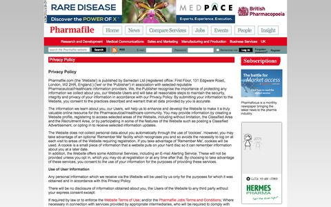 Screenshot of Privacy Page pharmafile.com - Privacy Policy | Pharmafile - captured Sept. 23, 2014