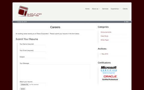 Screenshot of Jobs Page tassacorp.com - Careers - Tassa Corp - captured Oct. 26, 2014