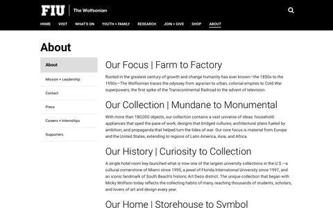 Screenshot of About Page wolfsonian.org - About   The Wolfsonian   Florida International University   FIU - captured Oct. 18, 2018