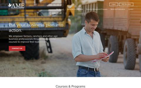 Screenshot of Home Page agrifoodtraining.com - AME Agri-Food Premiere Management and Leadership Training - captured July 14, 2017