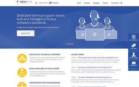 Screenshot of Home Page remsys.com - Remsys.com - Managed Technical Solutions - captured Oct. 12, 2017