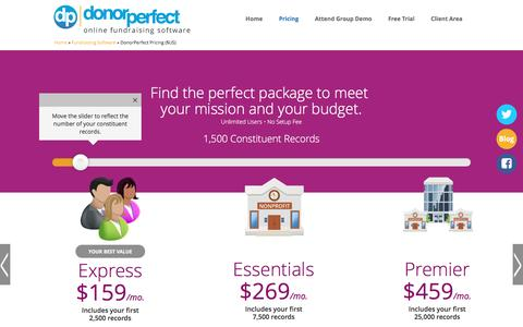 Screenshot of Pricing Page donorperfect.com - Fundraising Software Pricing Packages to Meet your Needs. - captured Oct. 28, 2016