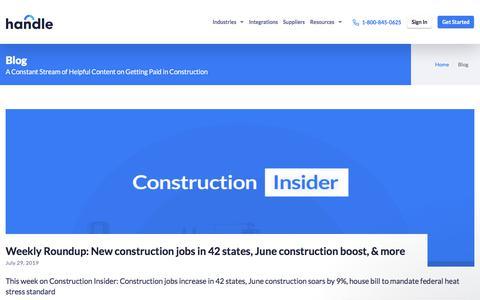 Screenshot of Blog handle.com - Handle Blog   Construction & Accounts Receivables Insights - captured July 31, 2019