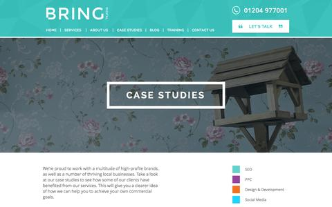 Screenshot of Case Studies Page bringdigital.co.uk - Case Studies - Bring Digital - captured Jan. 7, 2016