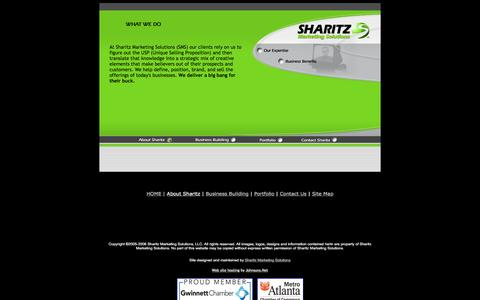 Screenshot of About Page sharitzgroup.com - Sharitz Marketing Solutions is a Marketing, Advertising, Creative and Production Company for web design, broadcast, catalog design and all other print design. - captured Feb. 22, 2016