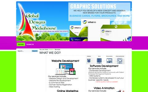 Screenshot of Services Page gdmediahouse.com - Global Designs Mediahouse | Website Design and Development | Online Marketing | Graphic Designs - captured Oct. 2, 2014