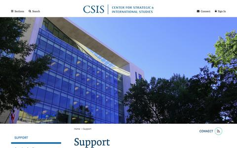Screenshot of Support Page csis.org - Support | Center for Strategic and International Studies - captured Sept. 25, 2018