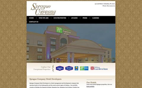 Screenshot of Home Page spraguehotels.com - Sprague Company Hotel Developers - captured Oct. 7, 2014