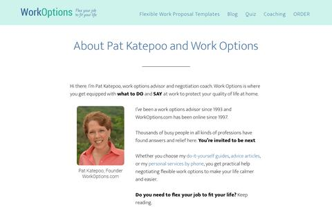 Screenshot of About Page workoptions.com - About Pat Katepoo and WorkOptions.com - captured June 13, 2018