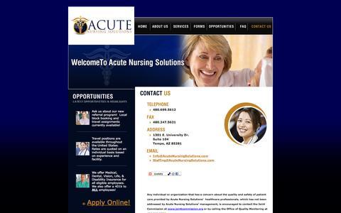 Screenshot of Contact Page acutenursingsolutions.com - Acute Nursing Solutions - captured Feb. 5, 2016