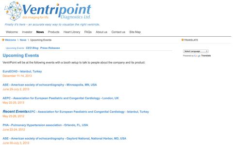 Screenshot of Press Page ventripoint.com - Upcoming Events - VentriPoint Diagnostics Ltd. - captured Sept. 12, 2014
