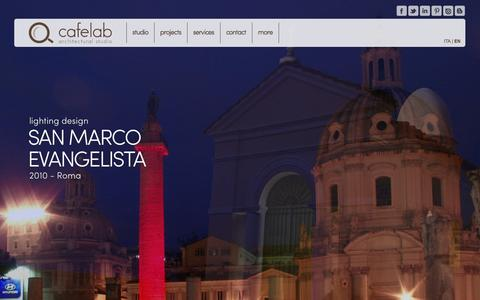 Screenshot of Home Page cafelab.eu - cafelab | architecture made in Italy - captured Oct. 1, 2014