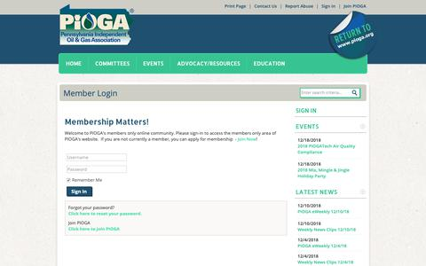 Screenshot of Login Page pioga.org - Pennsylvania Independent Oil and Gas Association - captured Dec. 14, 2018