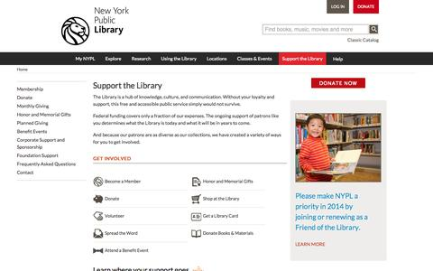 Screenshot of Support Page nypl.org - Support the Library | The New York Public Library - captured Oct. 26, 2014