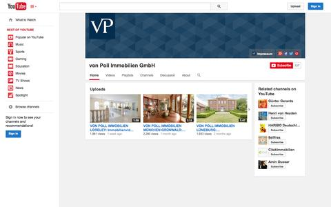 Screenshot of YouTube Page youtube.com - von Poll Immobilien GmbH  - YouTube - captured Nov. 4, 2014