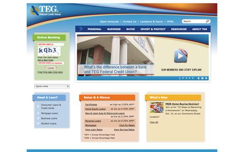 Screenshot of Home Page tegfcu.com - Newburgh & Poughkeepsie, NY: Mortgage Loans, Cars, Auto & Consolidation  | TEG Federal Credit Union - captured Oct. 6, 2014