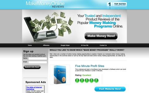 Screenshot of Home Page Privacy Page makemoneyonline-programs.com - Best Make MOney Online reviews -  Page : 1 - captured Nov. 8, 2018
