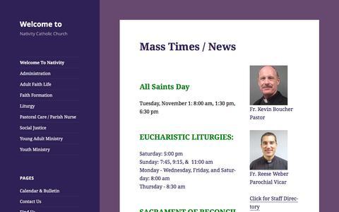 Screenshot of Home Page nativitycatholicchurch.net - Nativity Church of Fargo Homepage - captured Nov. 5, 2016