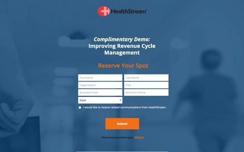 Screenshot of Landing Page healthstream.com - HealthStream Demo | Improving Revenue Cycle Management - captured Sept. 29, 2018