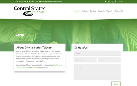 Screenshot of About Page centralstatestelecom.com - About – Central States Telecom - captured Nov. 10, 2018