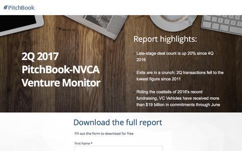 Screenshot of Landing Page pitchbook.com - 2Q 2017 PitchBook-NVCA Venture Monitor - captured July 22, 2017