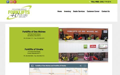 Screenshot of Locations Page forkliftsdsm.com - Clarklift DBA: Forklifts of Des Moines and Forklifts of Omaha - captured Nov. 25, 2016