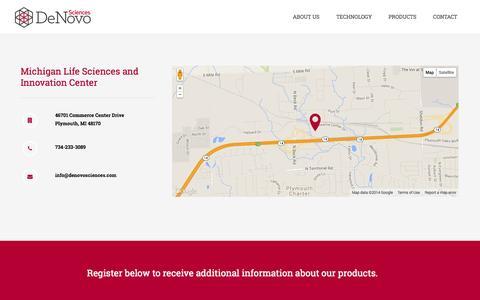 Screenshot of Maps & Directions Page denovosciences.com - Contact | Denovo Sciences - captured Nov. 5, 2014
