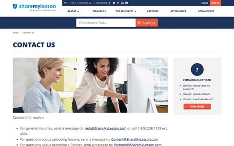 Screenshot of Contact Page sharemylesson.com - Contact Us | Share My Lesson - captured Dec. 6, 2019