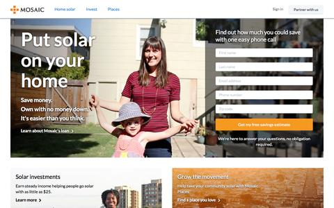 Screenshot of Home Page joinmosaic.com - The Leading Solar Energy Investment Platform | Mosaic - captured Sept. 16, 2014