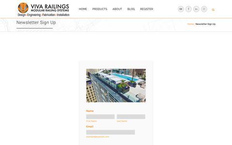 Screenshot of Signup Page vivarailings.com - Newsletter Sign Up   VIVA Railings - captured May 23, 2018