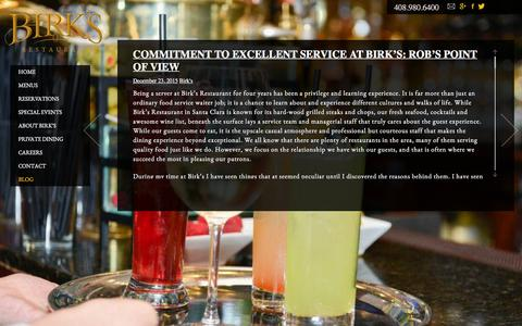 Screenshot of Blog birksrestaurant.com - Blog | Birk's Restaurant - captured Jan. 4, 2016