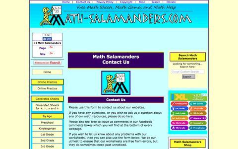 Screenshot of Contact Page math-salamanders.com - Contact Us - Math Salamanders - captured Sept. 22, 2018
