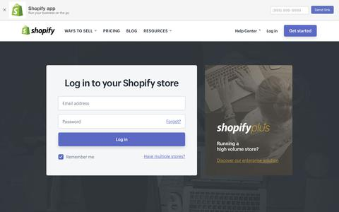 Screenshot of Login Page shopify.com - Login — Shopify - captured June 22, 2018