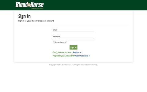 Screenshot of Login Page bloodhorse.com - Sign In | BloodHorse.com - captured Sept. 18, 2016