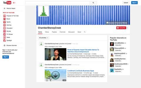 Screenshot of YouTube Page youtube.com - ChamberStoneyCreek  - YouTube - captured Nov. 4, 2014