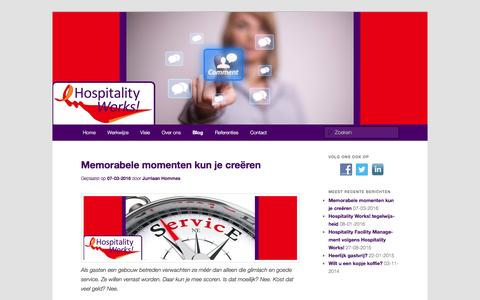 Screenshot of Blog hospitalityworks.nl - Gastvrijheid loont: Hospitality Works!Hospitality Works! - captured July 15, 2016