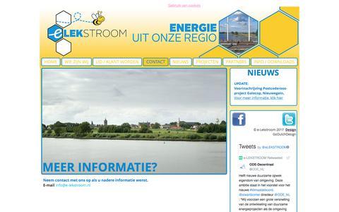 Screenshot of Contact Page e-lekstroom.nl - Vianen Nieuwegein IJsselstein energiecoöperatie contact - captured July 22, 2018