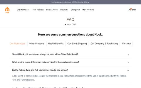 Screenshot of FAQ Page nooksleep.com - FAQ - captured Dec. 7, 2018