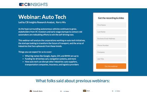 Screenshot of Landing Page cbinsights.com - Auto Tech Webinar Registration - captured Aug. 19, 2016