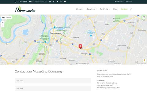 Screenshot of Contact Page riverworksmarketing.com - Marketing Company | Riverworks Marketing Company - captured May 16, 2018