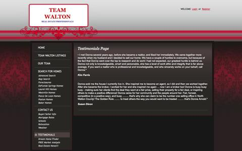 Screenshot of Testimonials Page teamwalton.com - Defuniak Springs Homes for Sale, Property Search in Defuniak Springs - Testimonials Page - captured Oct. 26, 2014