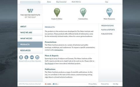 Screenshot of Products Page thewaterinstitute.org - The Water Institute of the Gulf   Products - captured Oct. 1, 2014