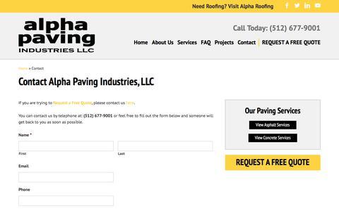 Screenshot of Contact Page alphapavingtexas.com - Contact Alpha Paving Industries - captured Oct. 8, 2017